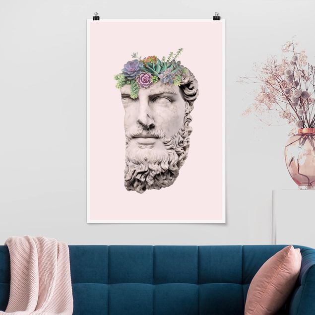 Poster - Jonas Loose - Kopf mit Sukkulenten - Hochformat 3:2