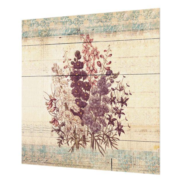 Glas Spritzschutz - Botanischer Vintage Strauss - Quadrat - 1:1