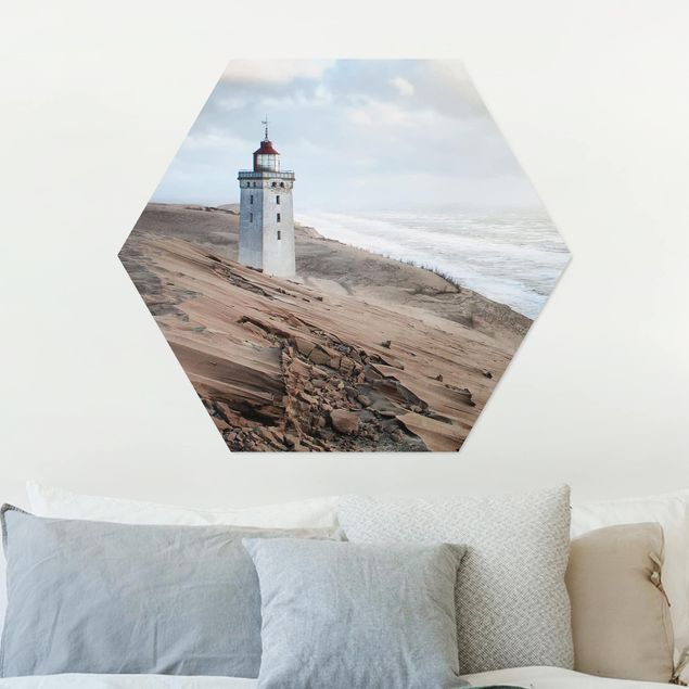 Hexagon Bild Alu-Dibond - Leuchtturm in Dänemark