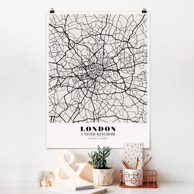 Poster - Stadtplan London - Klassik - Hochformat 3:4