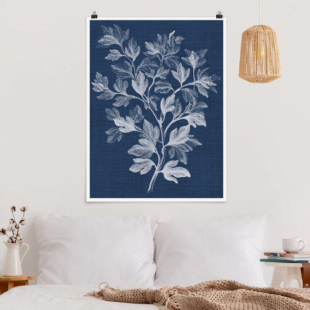 Poster - Denim Pflanzenstudie I - Hochformat 3:4