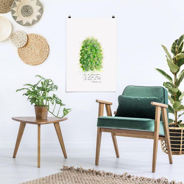 Poster - Kaktus mit Bibelvers I - Hochformat 3:2