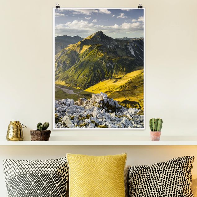 Poster - Berge und Tal der Lechtaler Alpen in Tirol - Hochformat 3:4