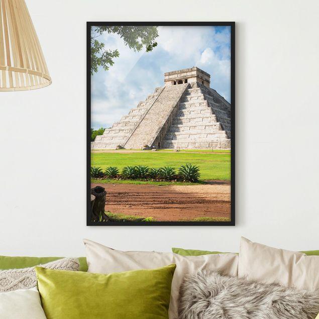 Bild mit Rahmen - El Castillo Pyramide - Hochformat 3:4