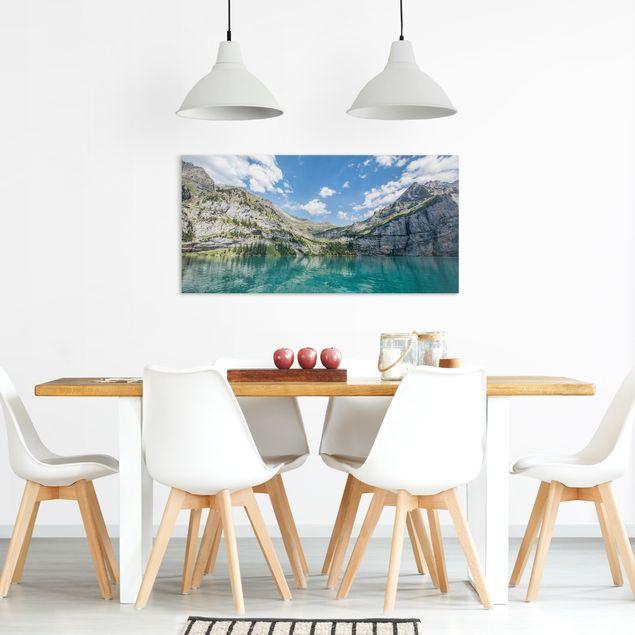 Leinwandbild - Traumhafter Bergsee - Querformat 2:1
