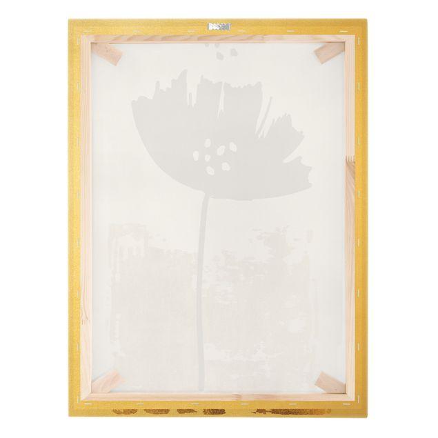 Leinwandbild Gold - Goldene Mohn Blume - Hochformat 3:4
