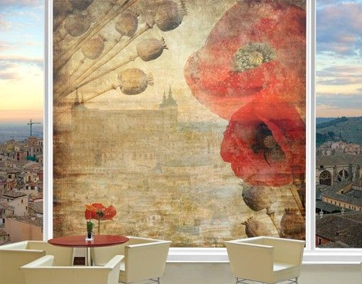 Fensterfolie - XXL Fensterbild Poppy Flower - Fenster Sichtschutz