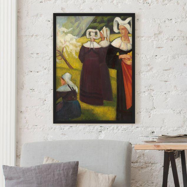 Bild mit Rahmen - Emile Bernard - Apfelpflückerinnen in Pont-Aven - Hochformat 3:4