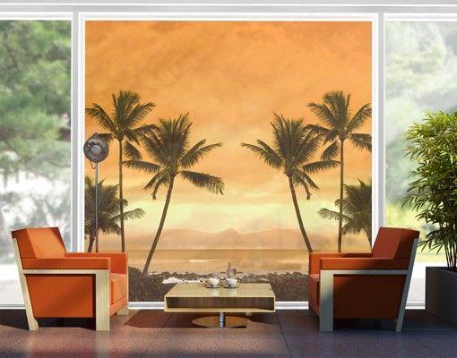 Fensterfolie - XXL Fensterbild Caribbean Sunset II - Fenster Sichtschutz