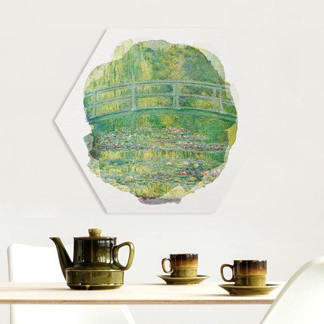 Hexagon Bild Forex - Wasserfarben - Claude Monet - Japanische Brücke