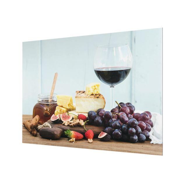Glas Spritzschutz - Käse und Wein - Querformat - 4:3