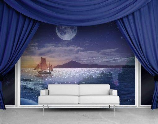 Fensterfolie - XXL Fensterbild Moon Night Sea - Fenster Sichtschutz