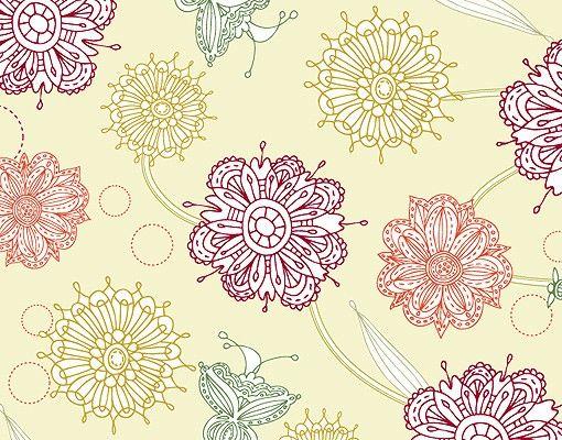 Fensterfolie - XXL Fensterbild Ornamentblüten - Fenster Sichtschutz