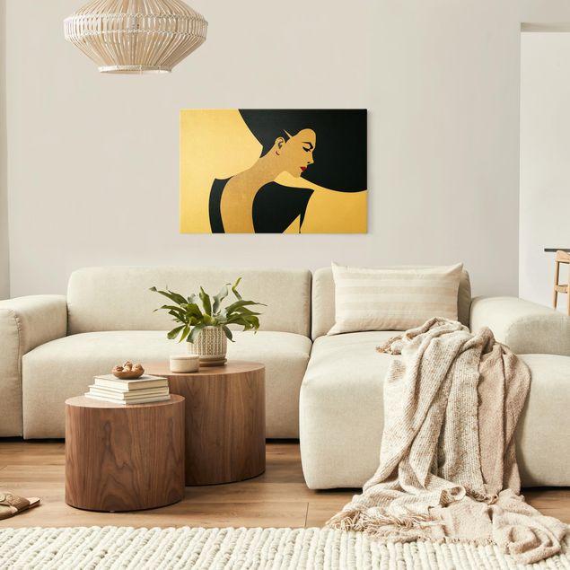 Leinwandbild Gold - Dame mit Hut in Dunkelblau - Querformat 3:2