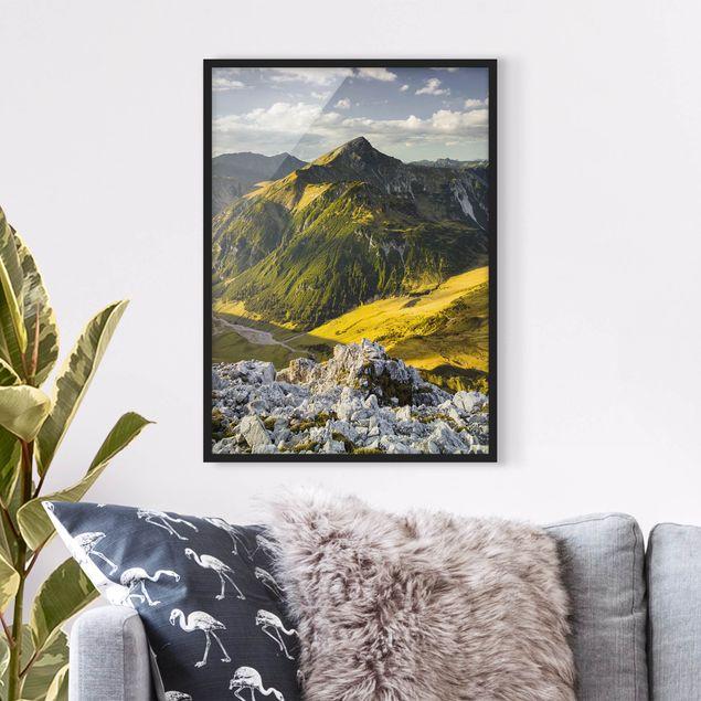 Bild mit Rahmen - Berge und Tal der Lechtaler Alpen in Tirol - Hochformat 3:4