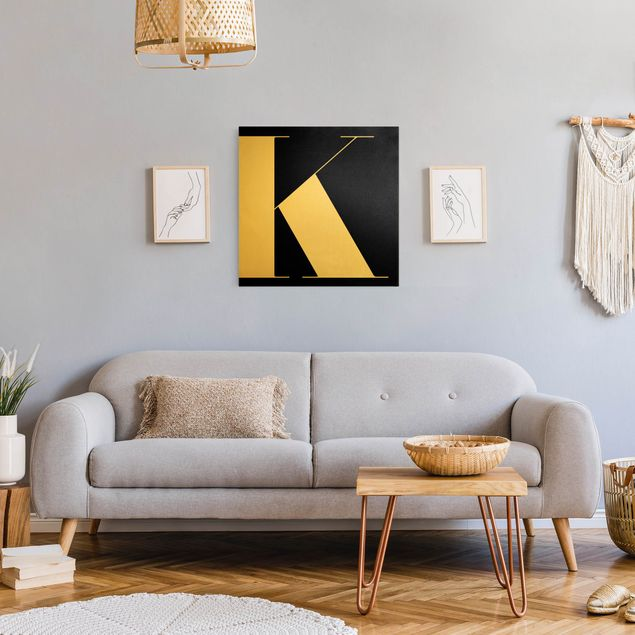 Leinwandbild Gold - Antiqua Letter K Schwarz - Quadrat 1:1