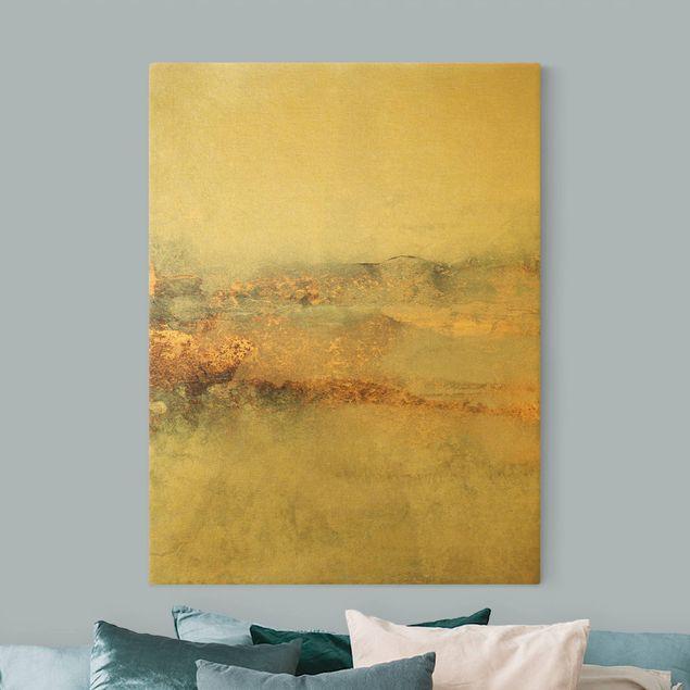 Leinwandbild Gold - Gold-Grauer Nebel - Hochformat 3:4
