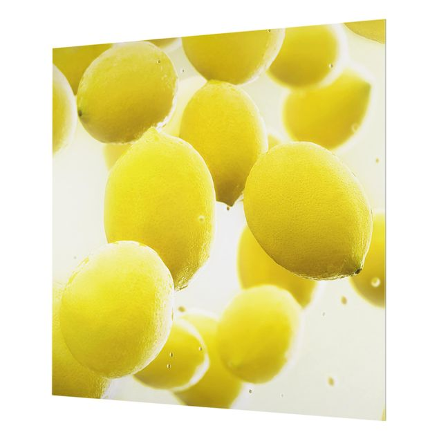 Glas Spritzschutz - Zitronen im Wasser - Quadrat - 1:1