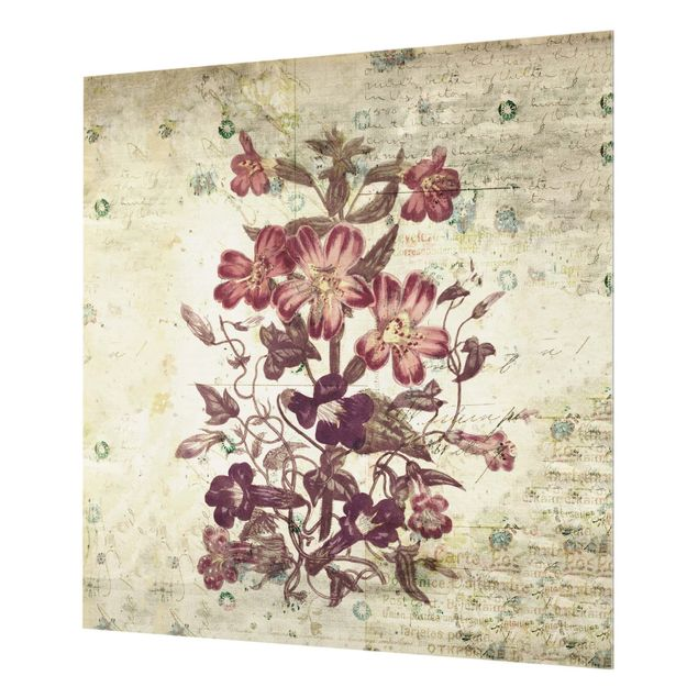 Glas Spritzschutz - Vintage Blütenmuster - Quadrat - 1:1