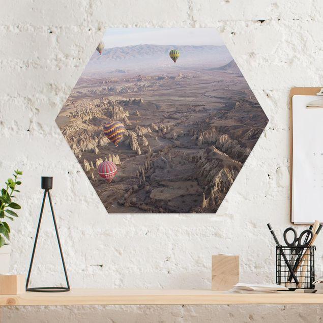 Hexagon Bild Alu-Dibond - Heißluftballons über Anatolien
