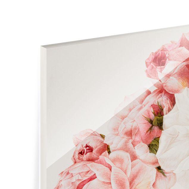 Glas Spritzschutz - Pierre Joseph Redouté - Damaszener-Rose - Quadrat - 1:1
