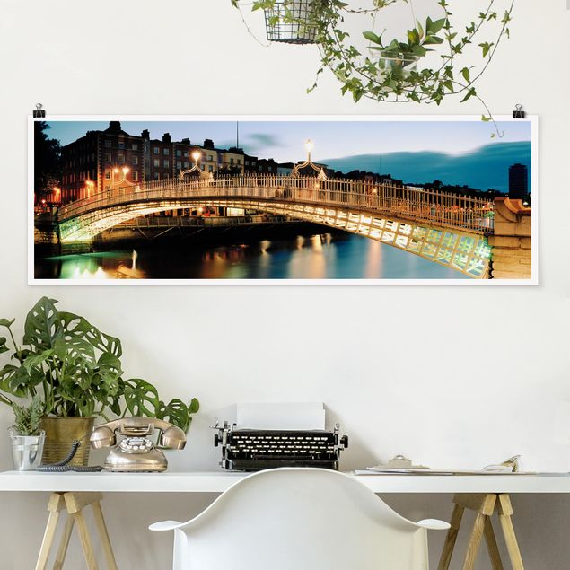 Poster - Ha'penny Bridge - Panorama Querformat