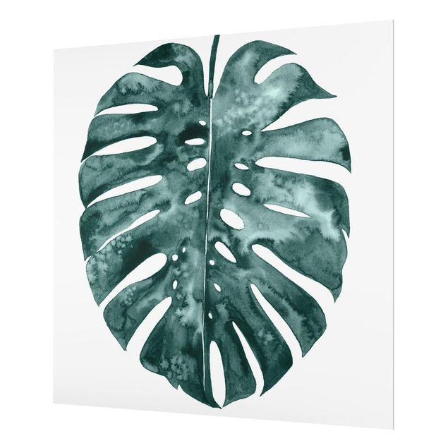 Glas Spritzschutz - Smaragdgrüne Monstera Deliciosa - Quadrat - 1:1