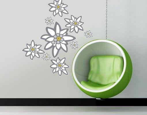 Wandtattoo Floral No.UL880 Edelweiß Set