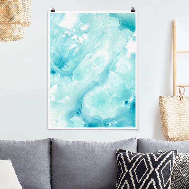 Poster - Emulsion in weiß und türkis I - Hochformat 3:4