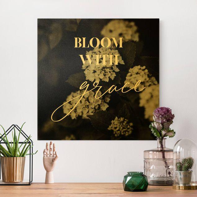 Leinwandbild Gold - Hortensien - Bloom with grace - Quadrat 1:1