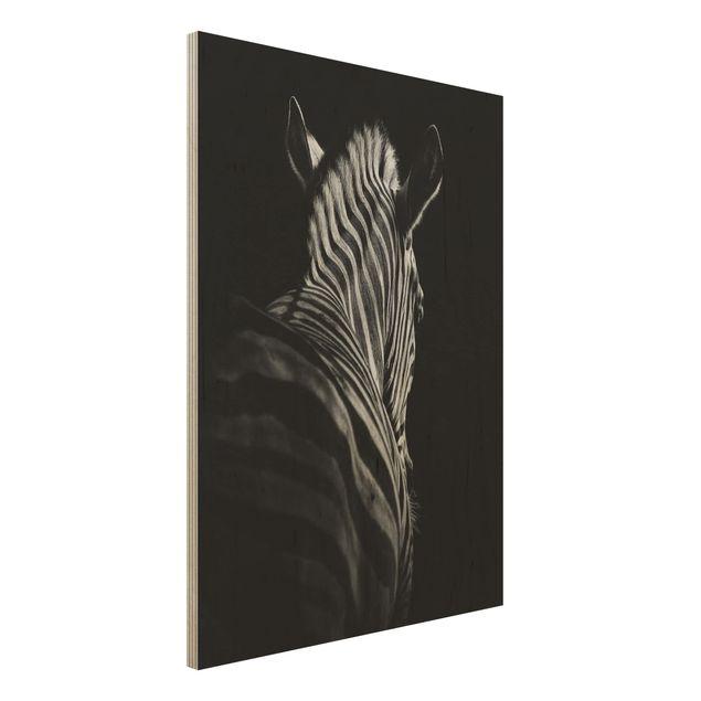 Holzbild - Dunkle Zebra Silhouette - Hochformat 4:3