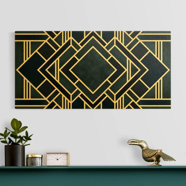 Leinwandbild Gold - Goldene Geoemetrie - Art Deco Blau - Querformat 2:1