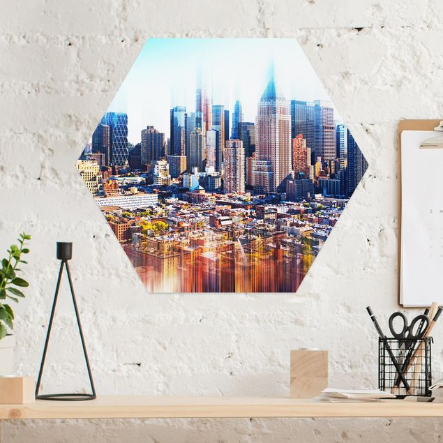 Hexagon Bild Alu-Dibond - Manhattan Skyline Urban Stretch