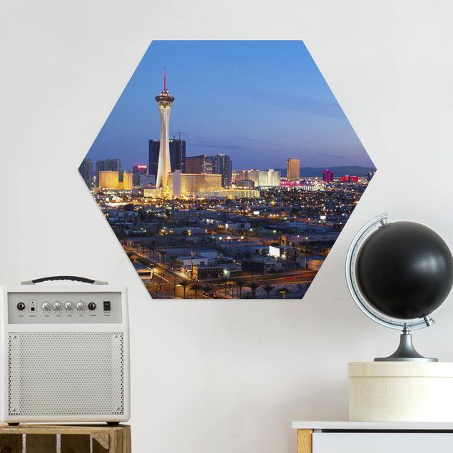 Hexagon Bild Alu-Dibond - Viva Las Vegas