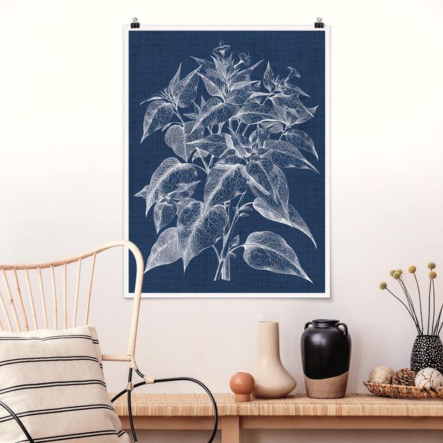 Poster - Denim Pflanzenstudie III - Hochformat 3:4