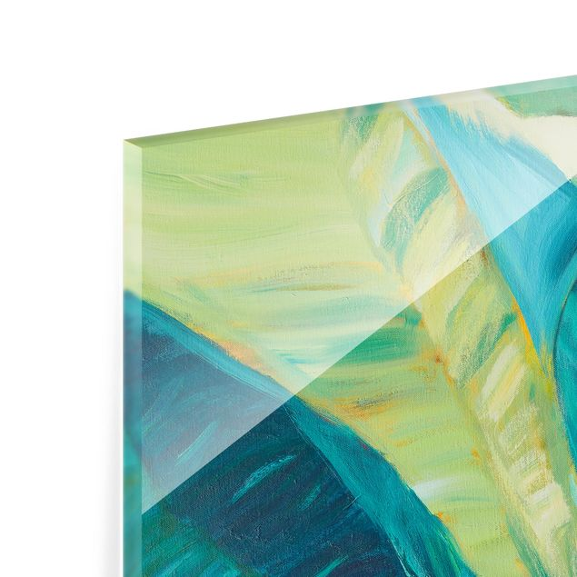 Glas Spritzschutz - Bananenblatt mit Türkis II - Quadrat - 1:1
