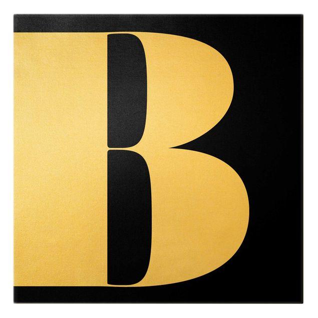 Leinwandbild Gold - Antiqua Letter B Schwarz - Quadrat 1:1
