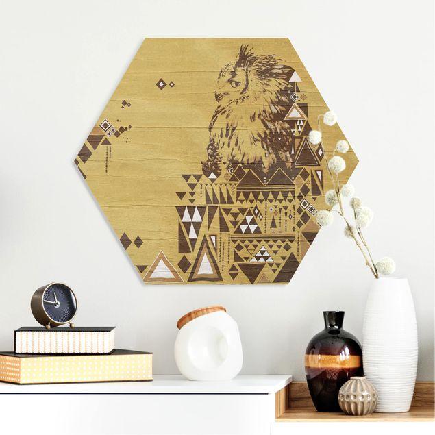 Hexagon Bild Forex - No.MW17 Indianische Eule