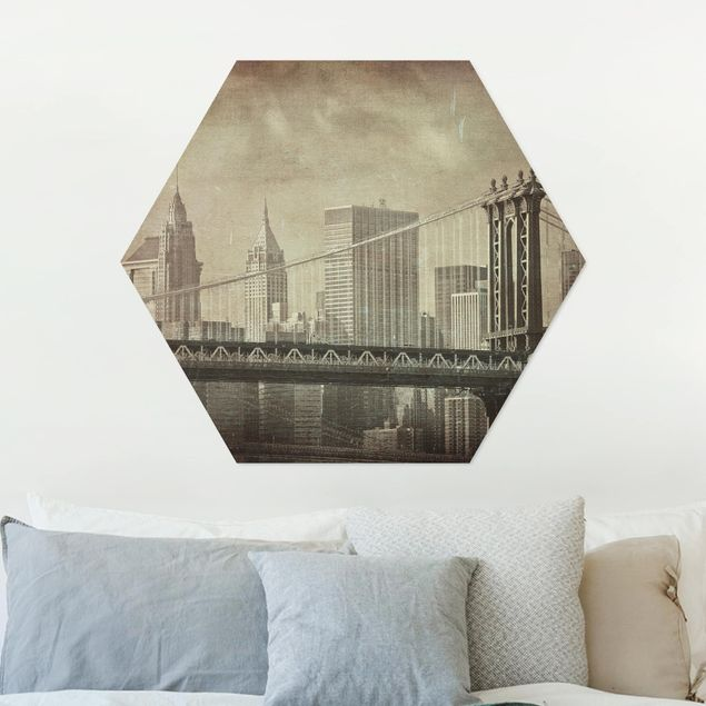 Hexagon Bild Alu-Dibond - Vintage New York City