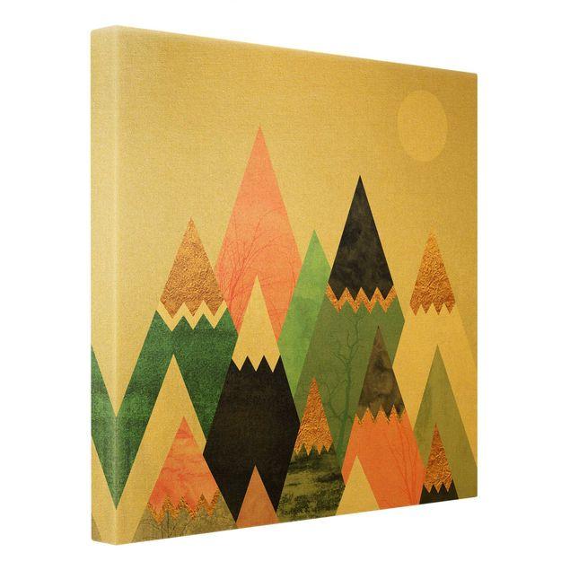 Leinwandbild Gold - Dreieckige Berge mit Goldspitzen - Quadrat 1:1