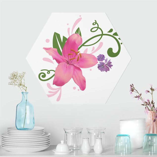 Hexagon Bild Forex - No.BP8 Lilientraum Pink