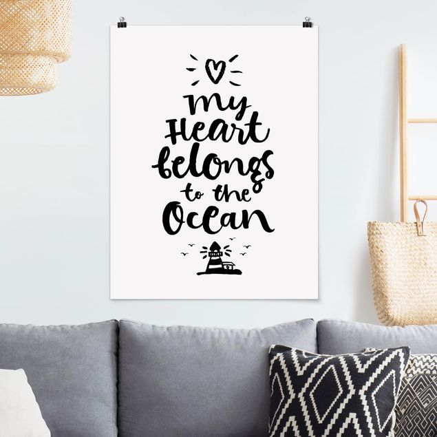 Poster - My heart belongs to the ocean - Hochformat 3:4