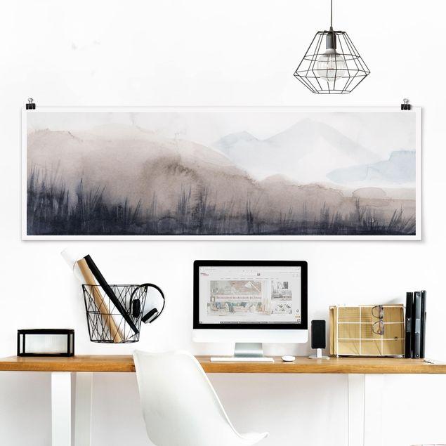Poster - Seeufer mit Bergen II - Panorama Querformat