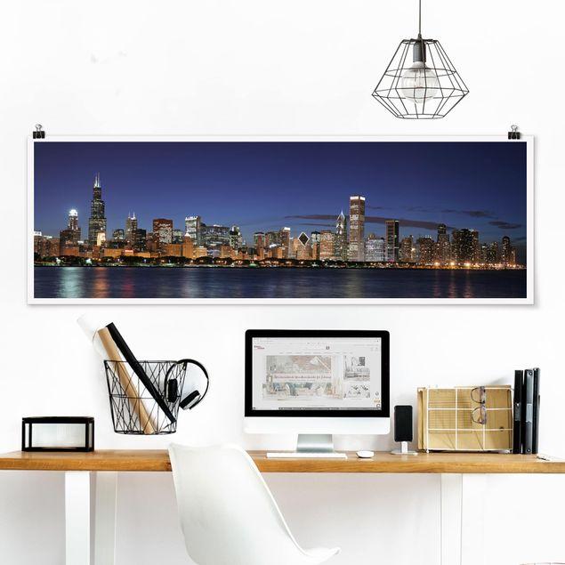 Poster - Chicago Skyline bei Nacht - Panorama Querformat