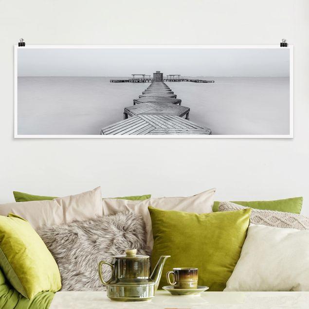 Poster - Hölzerner Pier und Schwarz-weiß - Panorama Querformat