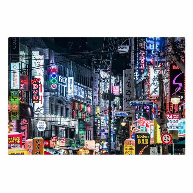 Leinwandbild - Nachtleben von Seoul - Querformat 3:2