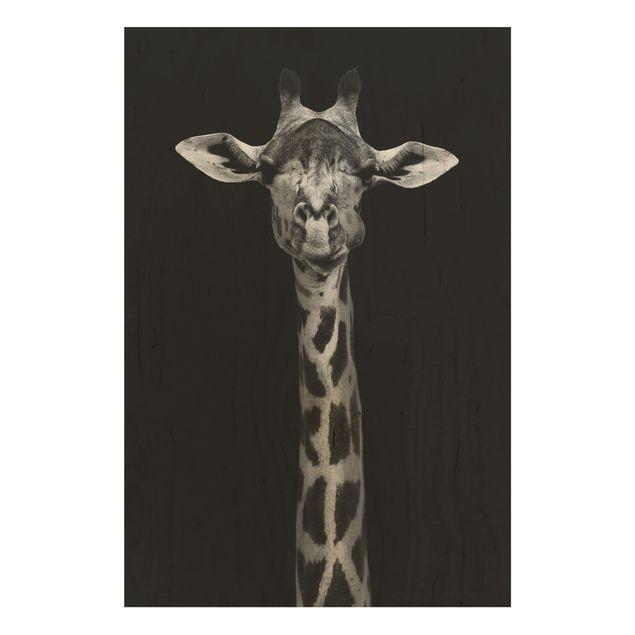 Holzbild - Dunkles Giraffen Portrait - Hochformat 3:2