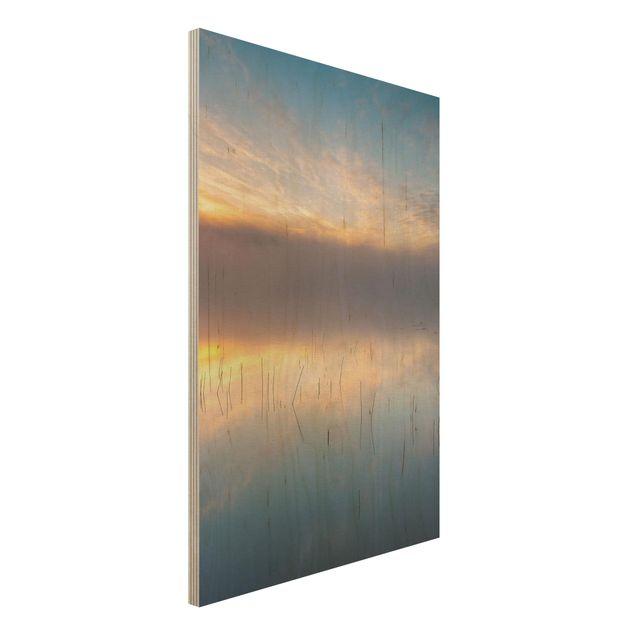 Holzbild - Sonnenaufgang schwedischer See - Hochformat 3:2