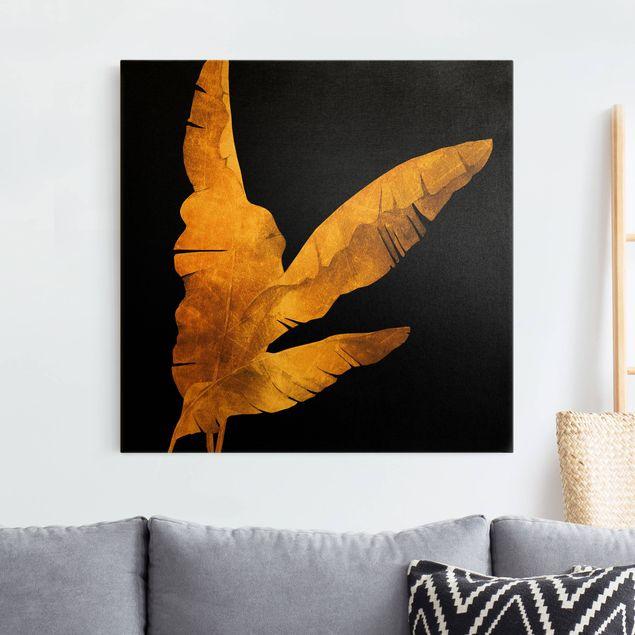 Leinwandbild Gold - Gold - Bananenpalme auf Schwarz - Quadrat 1:1
