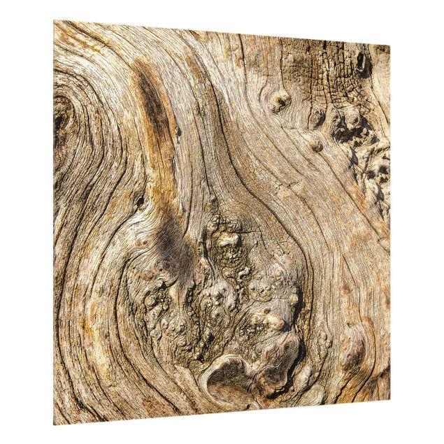 Glas Spritzschutz - Alte Holzstruktur - Quadrat - 1:1